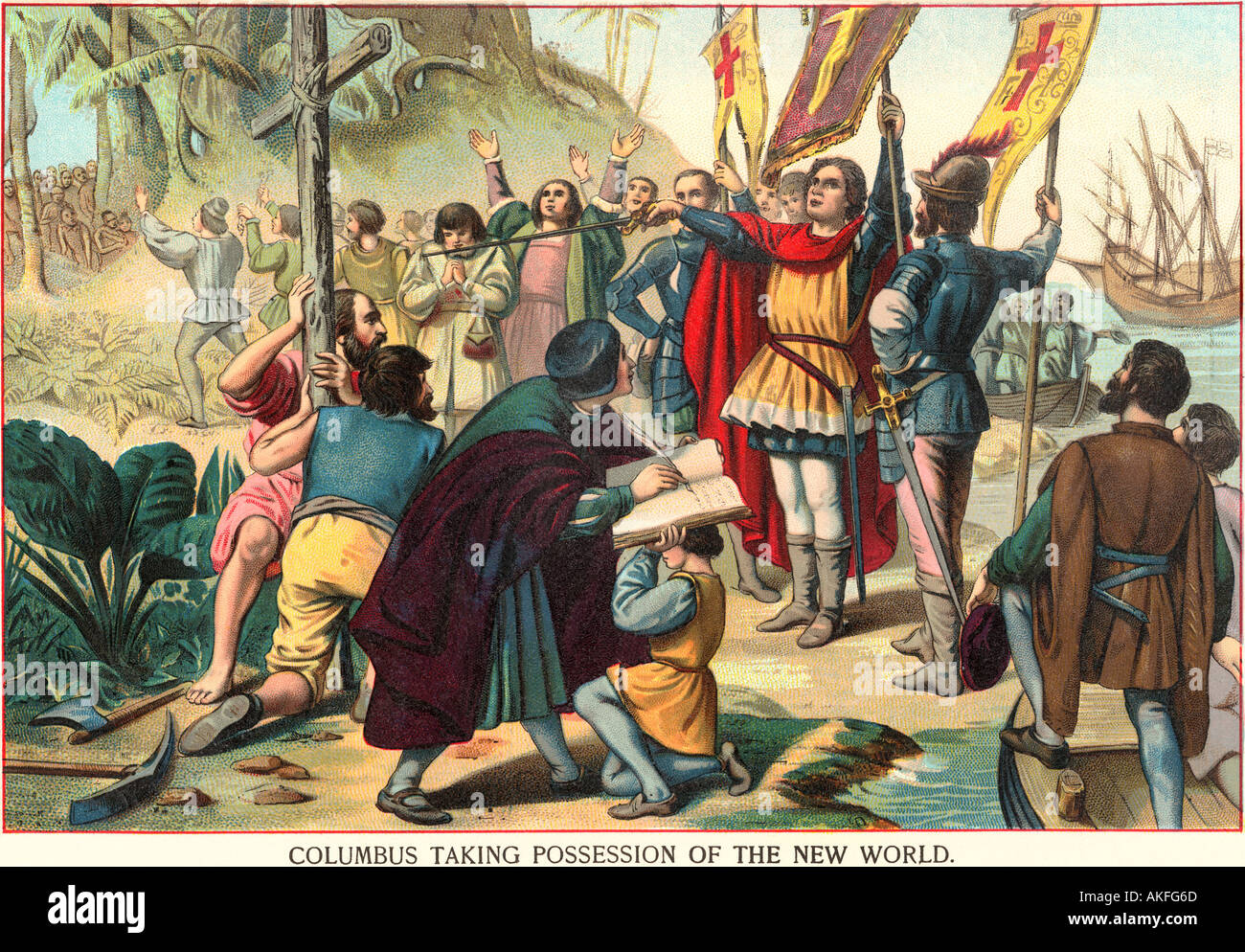 Christopher Columbus taking possession of the New World for Spain 1492.  Color lithograph