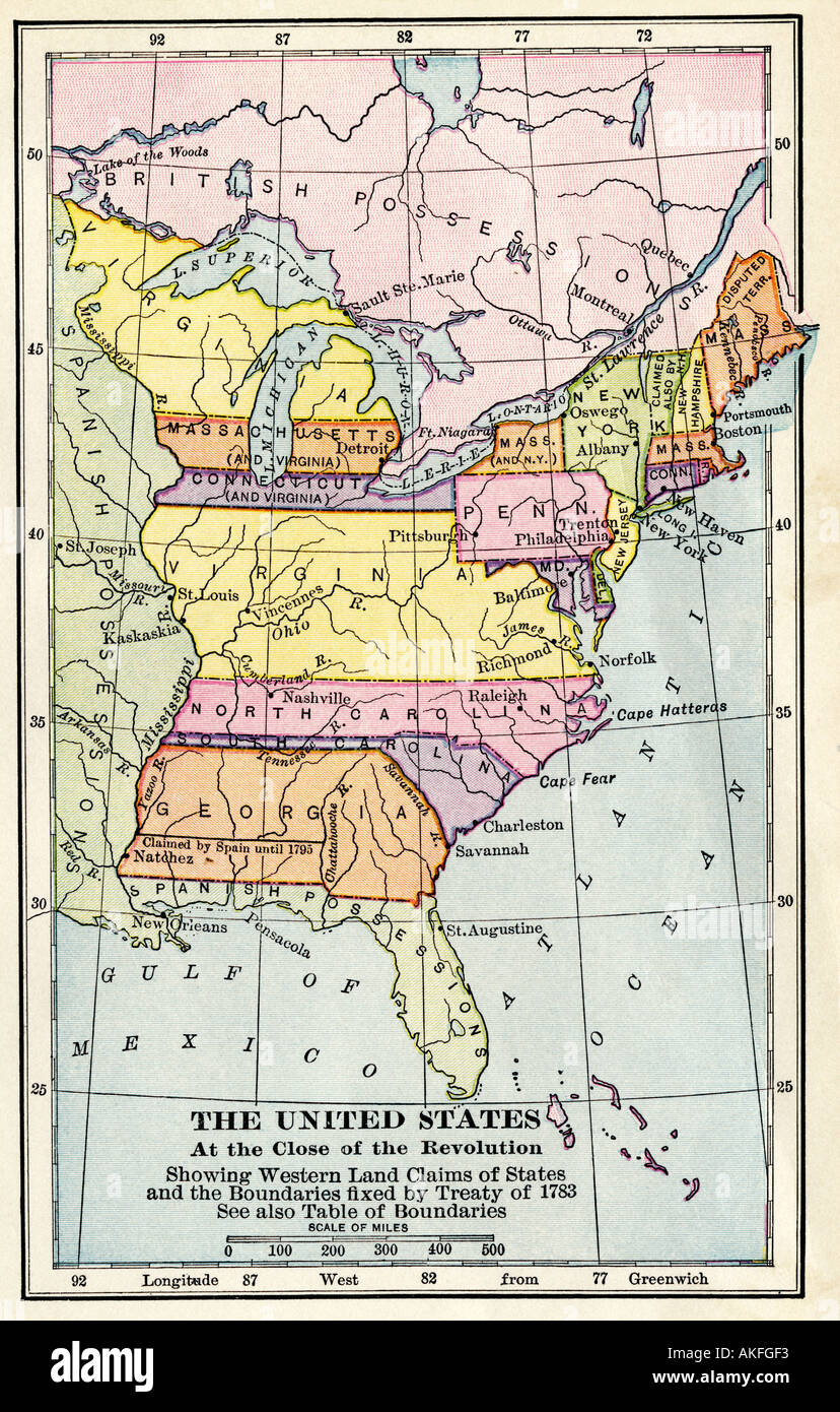 Map Of The United States At The Close Of The American Revolution