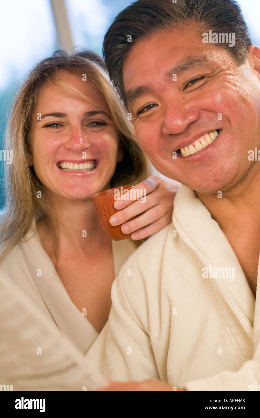 Asian caucasian couple