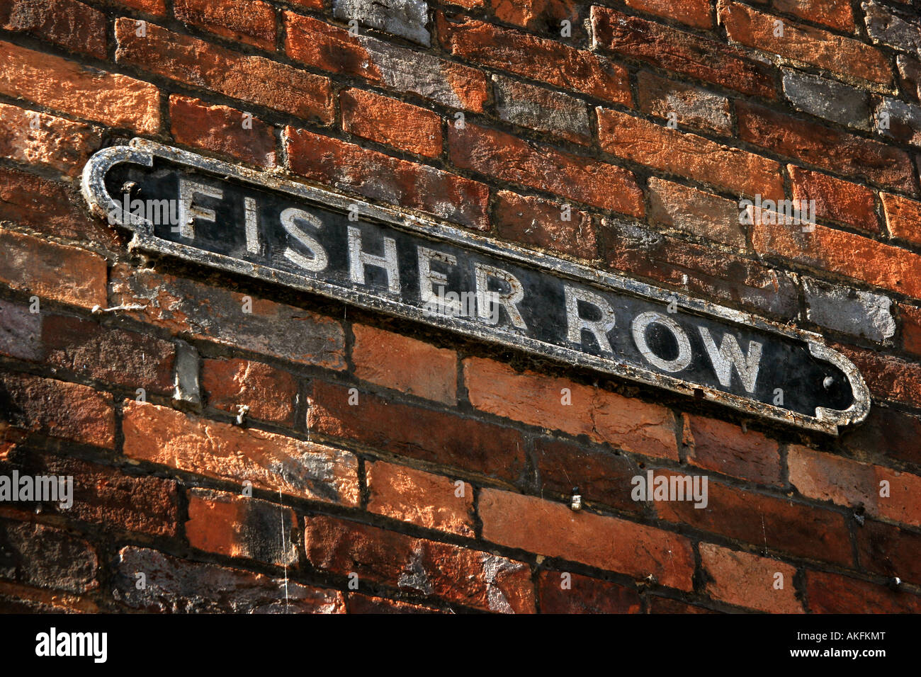 close up of old street sign Fisher Row in Oxford - Stock Image