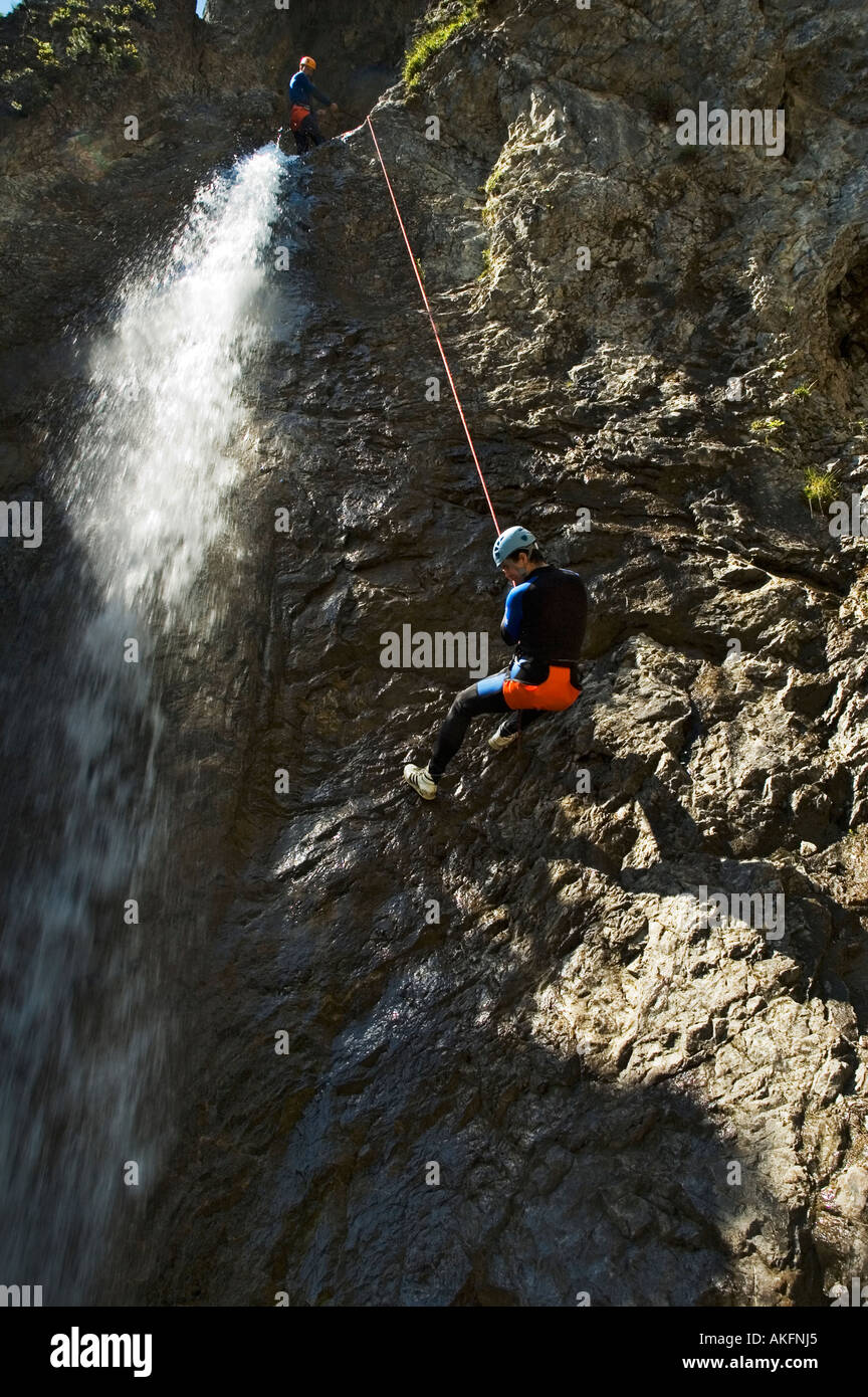 Abseiling on a canyoning trip in the Lechtal valley Tirol Austria - Stock Image