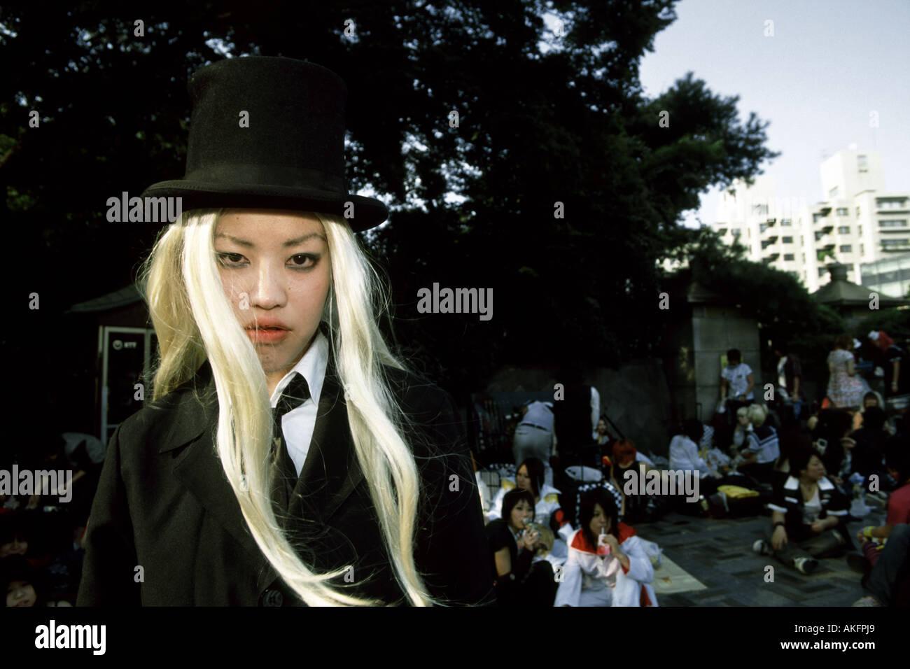 A blond Harajuku cosplay girl, Tokyo, Japan - Stock Image
