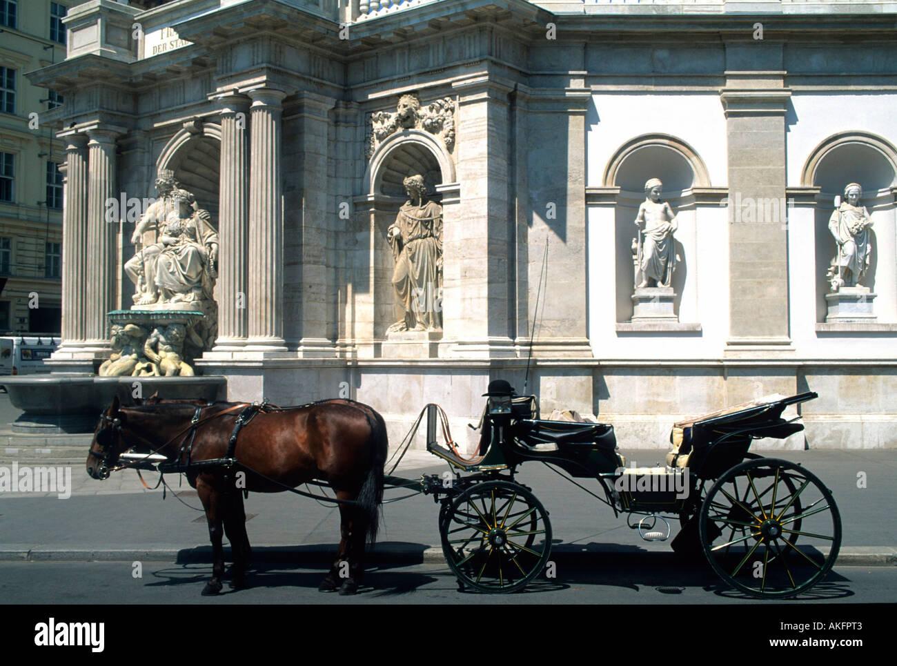 Österreich, Wien 1, Albertinaplatz, Fiaker vor dem Danubiusbrunnen (1869) an der Albrechtsrampe des Palais Erzherzog Albrecht (A - Stock Image
