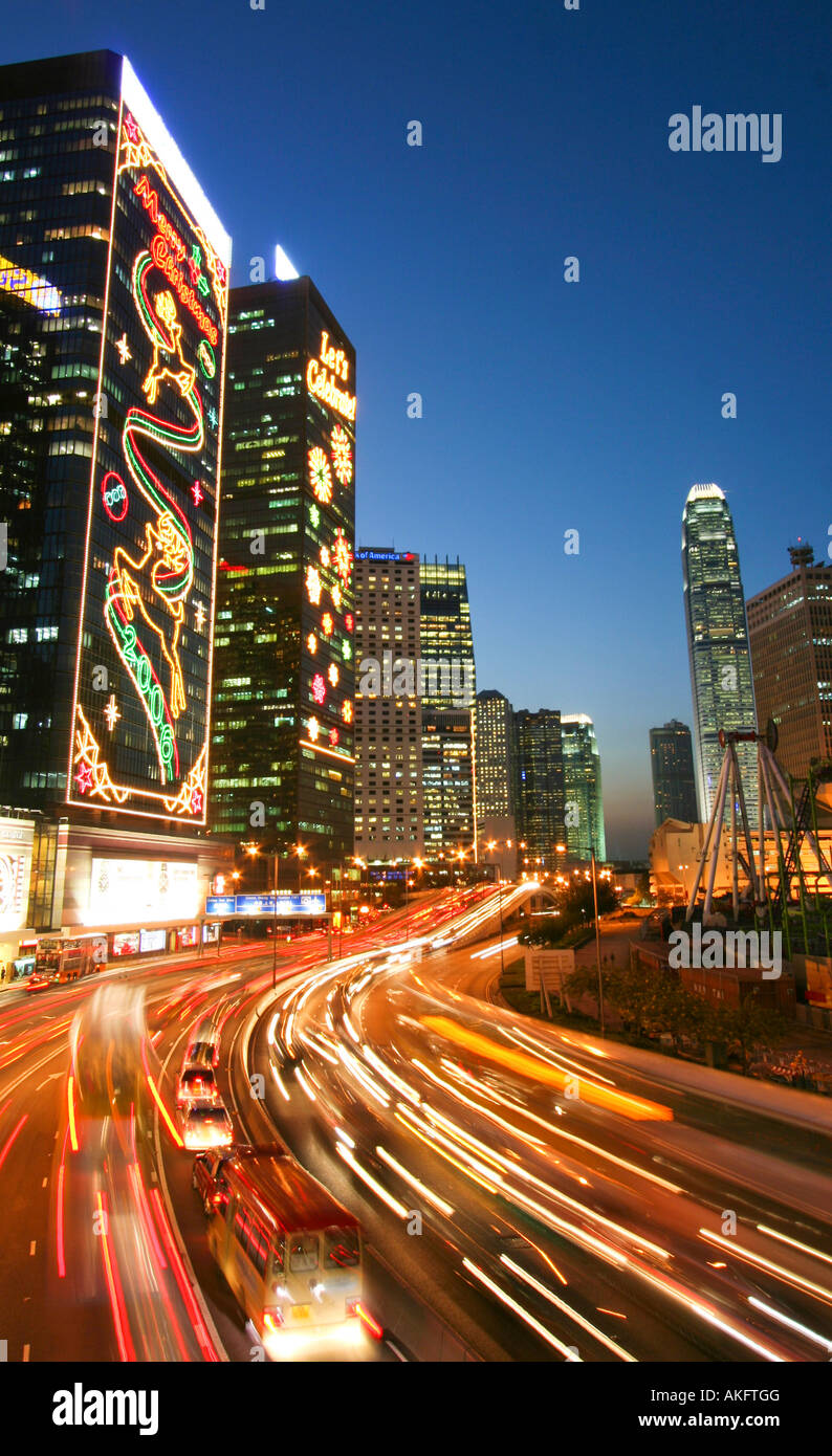 Skyline Hong Kong Night Christmas Stock Photos & Skyline
