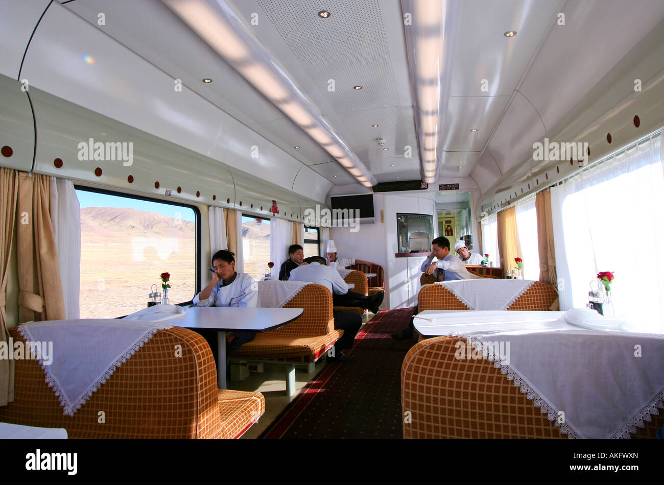 View inside the air conditioned restaurant car on the Tibet Qinghai Railway s Tangula Express - Stock Image