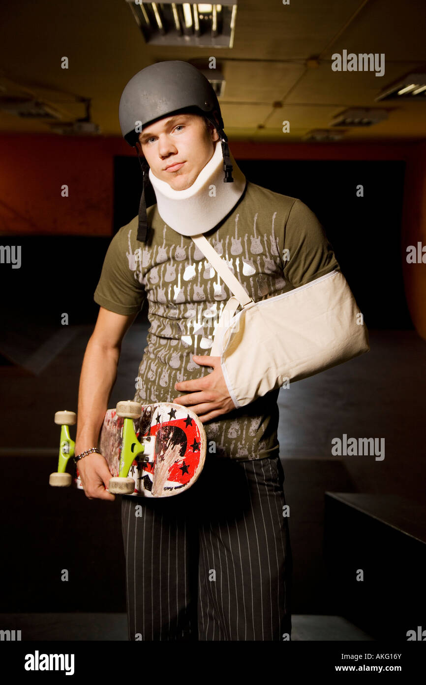 Injuries from skateboarding - Stock Image