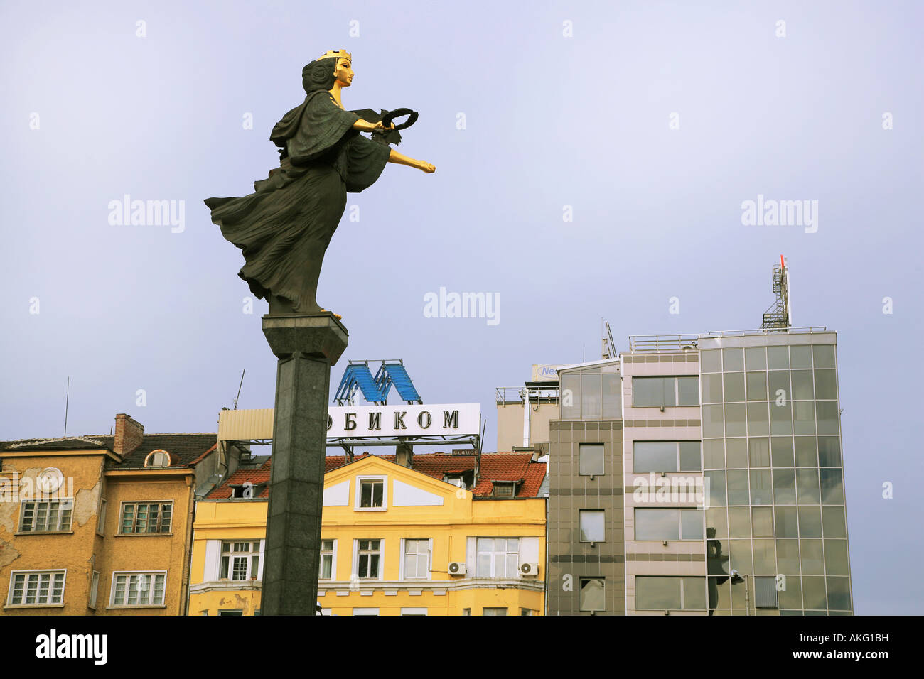 The statue of Sofia guarding and protecting the city of Sofia in Bulgaria The symbols represent fame and wisdom - Stock Image