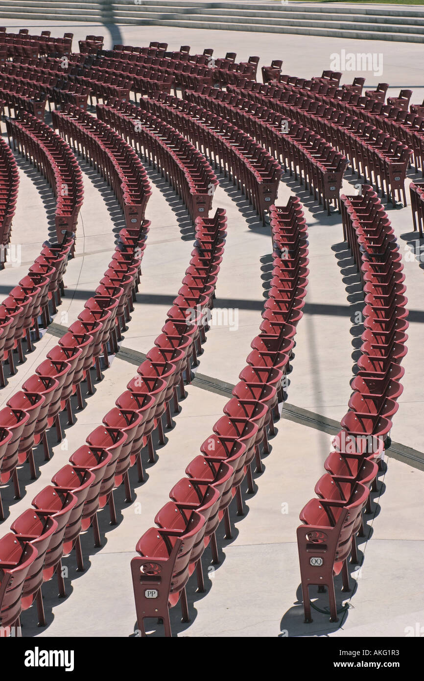 Admirable Rows Of Empty Red Folding Chair Seating At The Pritzker Caraccident5 Cool Chair Designs And Ideas Caraccident5Info
