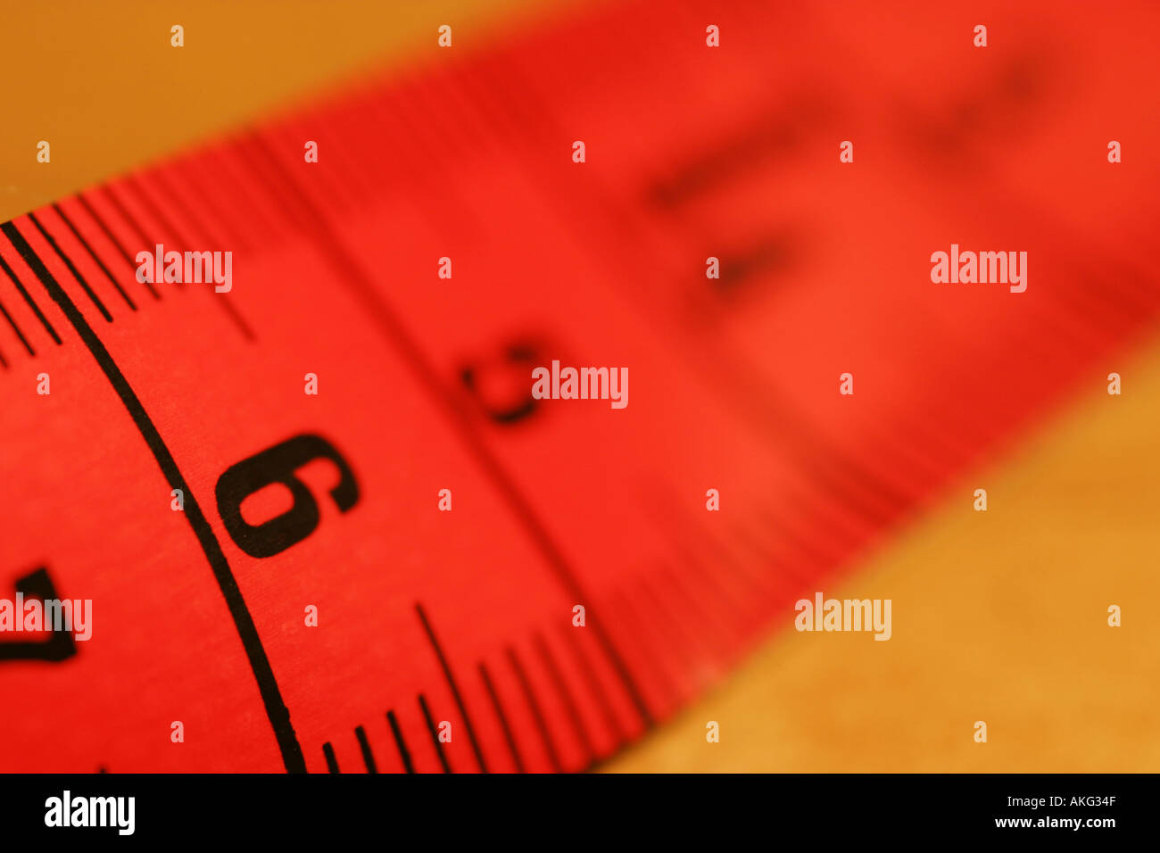 Tape measure close up red colour Stock Photo