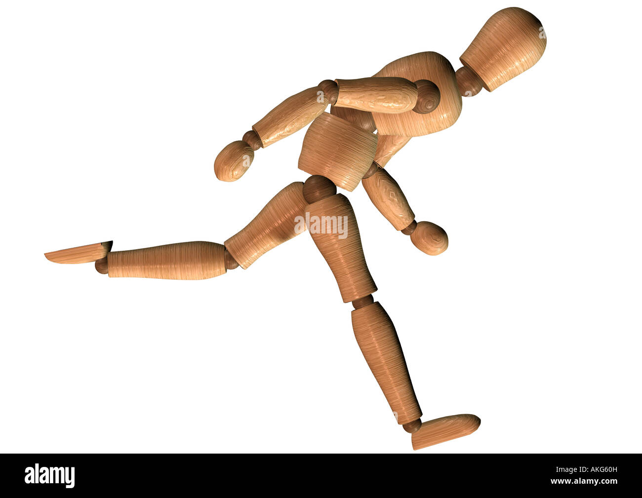 jointed doll running Gliederpuppe rennt - Stock Image