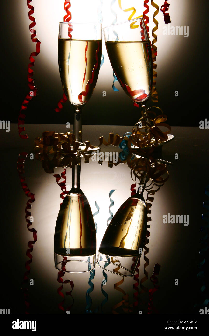 Champagne Glasses with ribbons Stock Photo