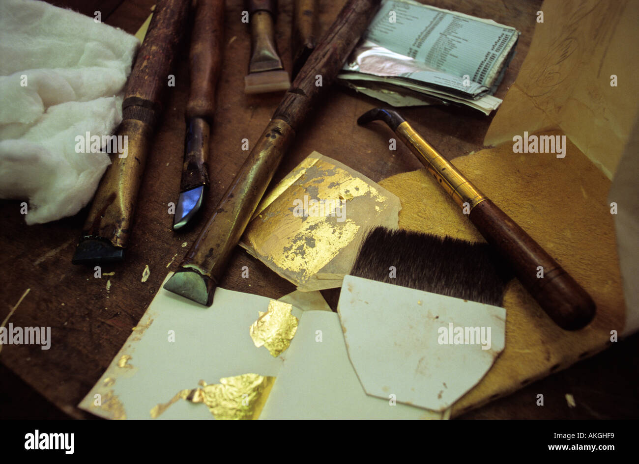Gold leaf tools - Stock Image
