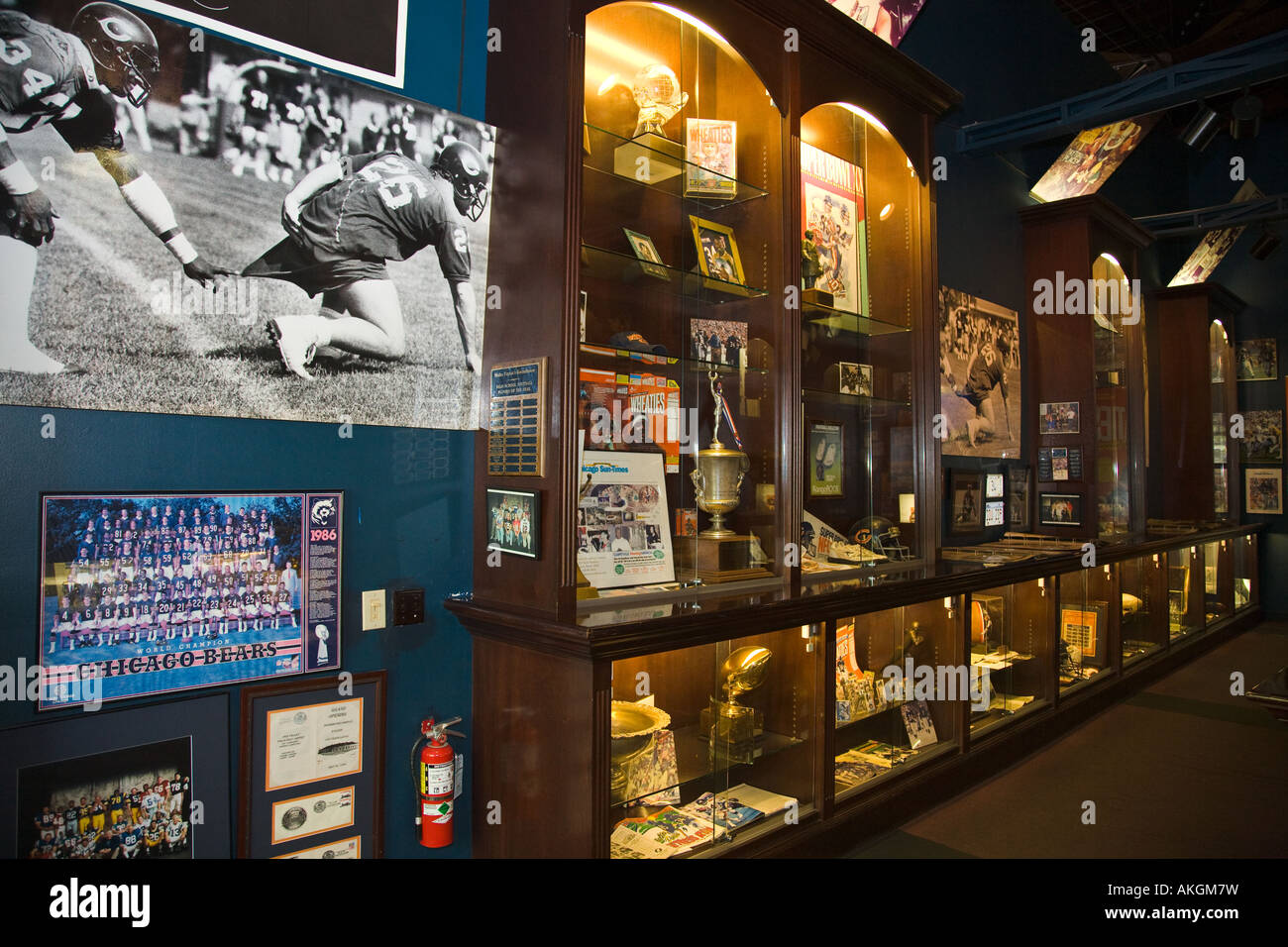 ILLINOIS Aurora Walter Payton museum in Roundhouse restaurant and meeting facility interior trophies photos - Stock Image