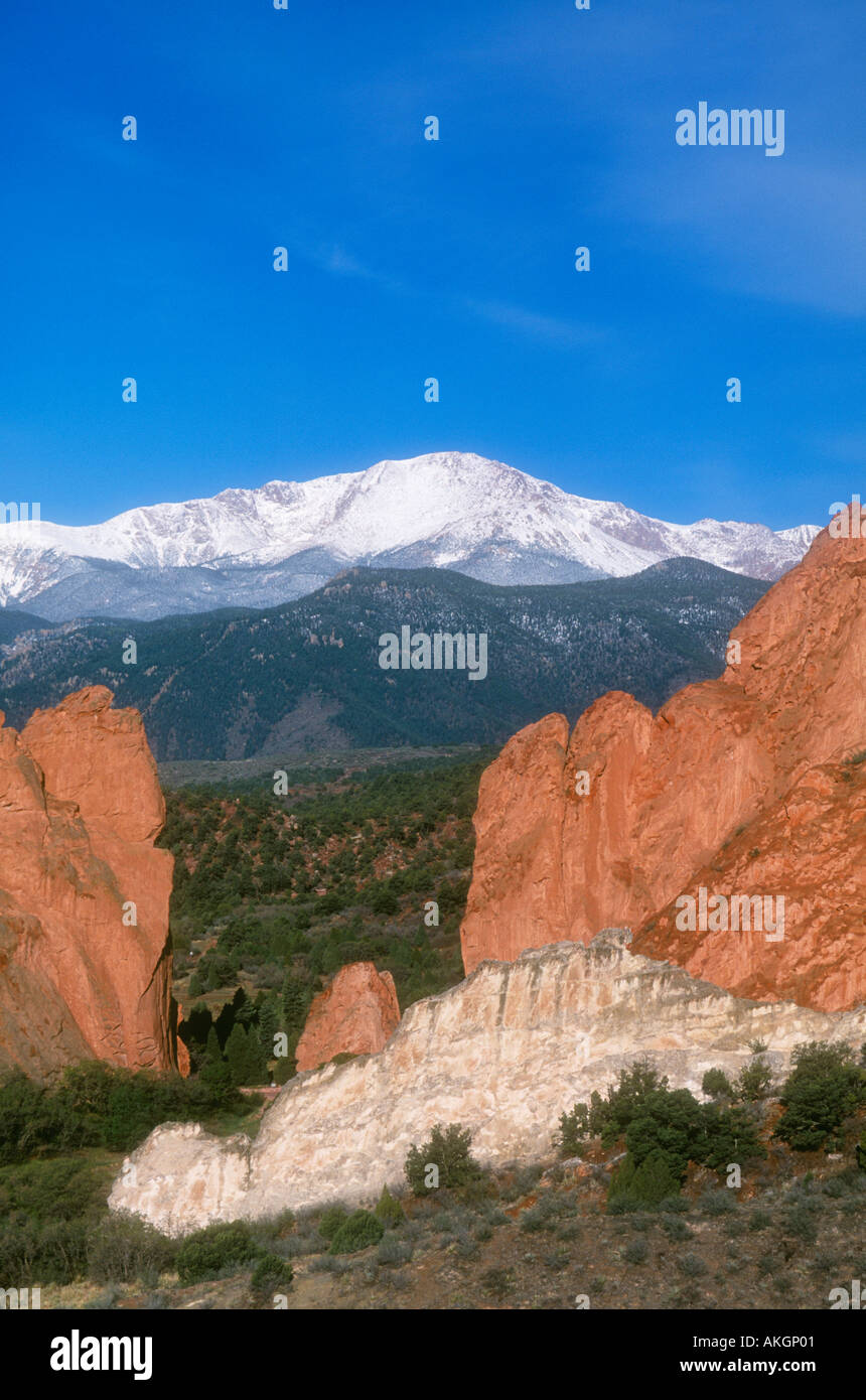 Garden of the Gods rock formations with snow,capped Pikes