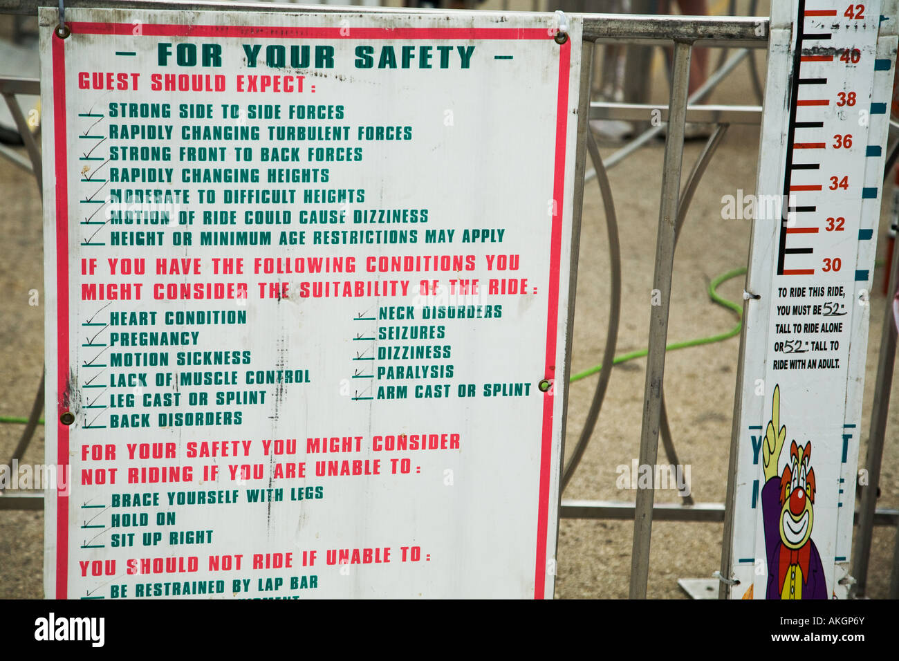 WISCONSIN Milwaukee Warning sign at entrance to amusement ride Wisconsin State Fair disclaimers and health considerations Stock Photo