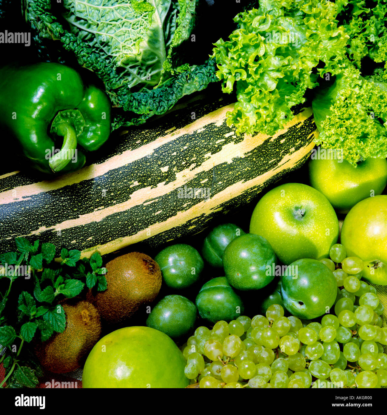 various vegetables and fruits for diet Stock Photo