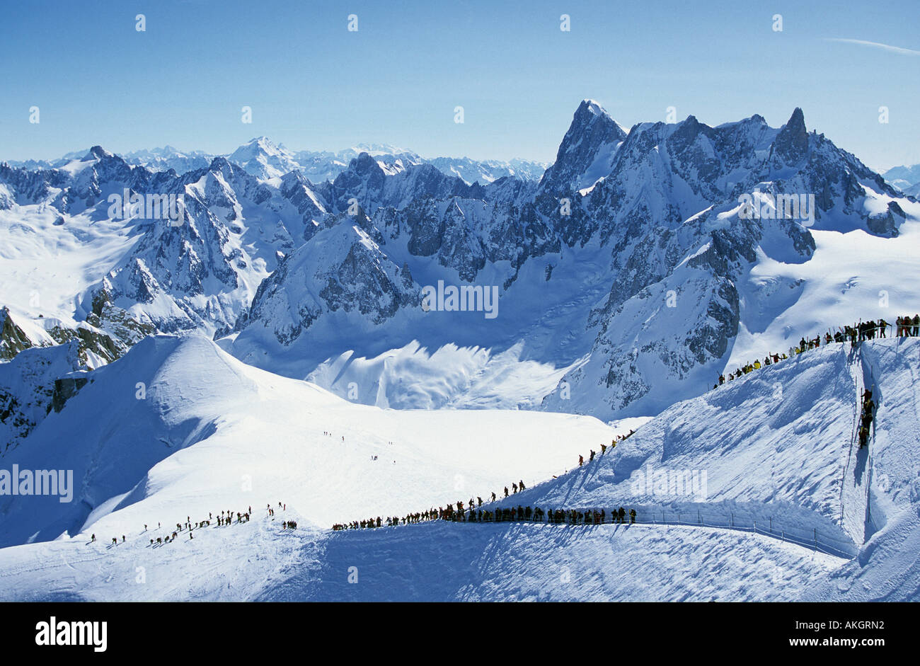 The Arret du Midi on the Aiguille du Midi next to Mont Blanc The start of the world s longest and most famous ski Stock Photo