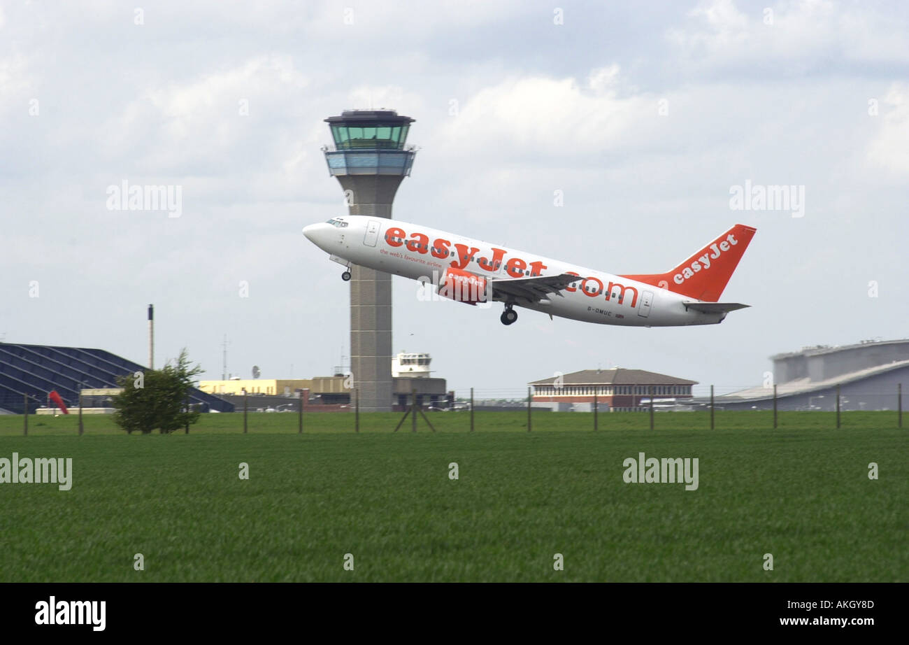 easyjet plane takes off from Luton airport Bedfordshire UK - Stock Image