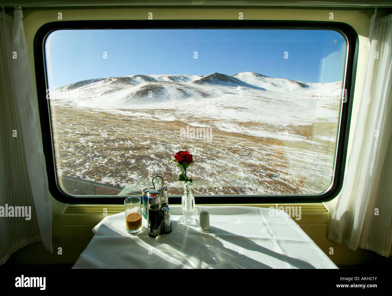View through the train window on the Tibet Qinghai Railway's Tangula Express (to Lhasa). - Stock Image