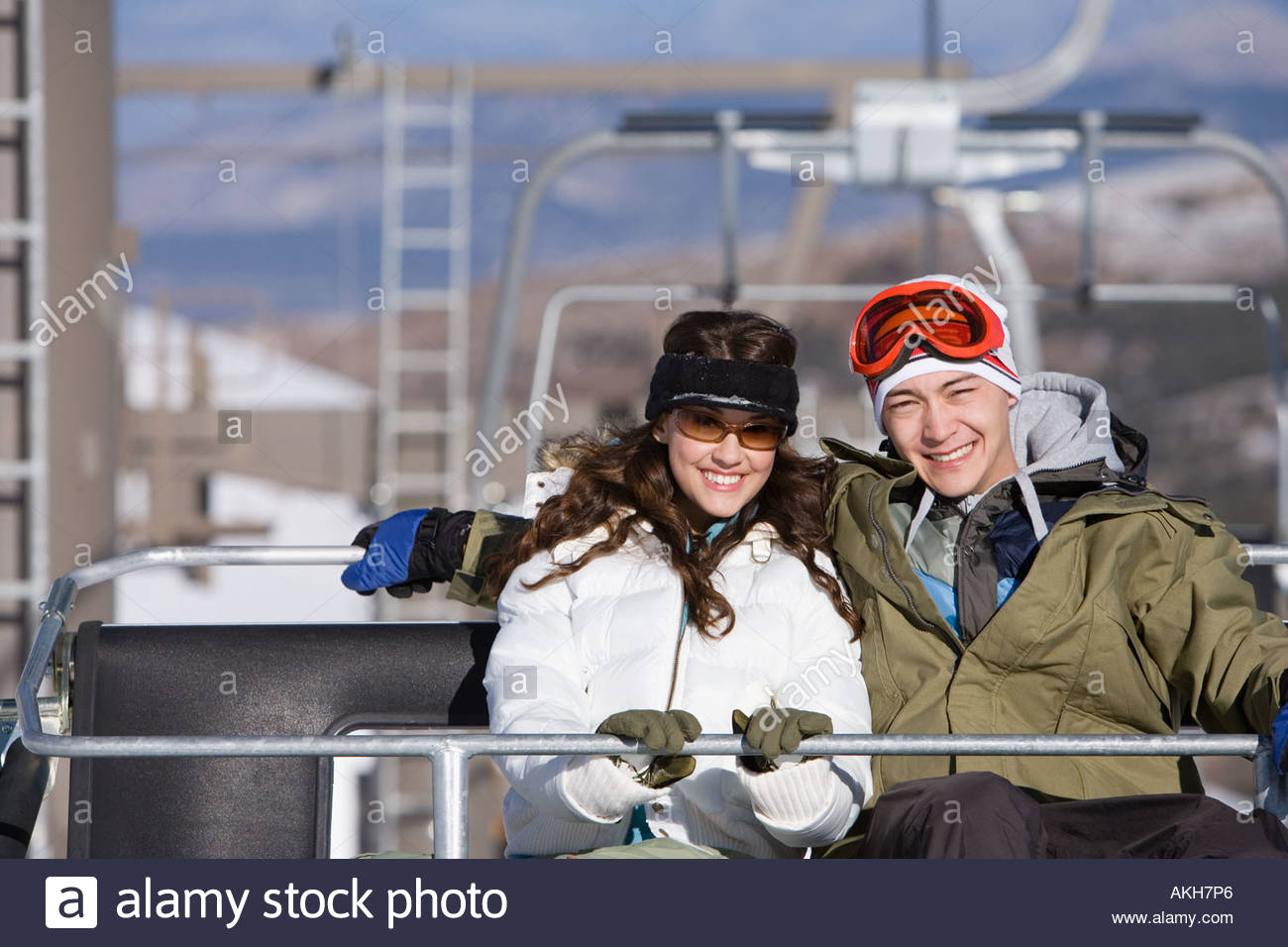 Couple on a chair lift Stock Photo