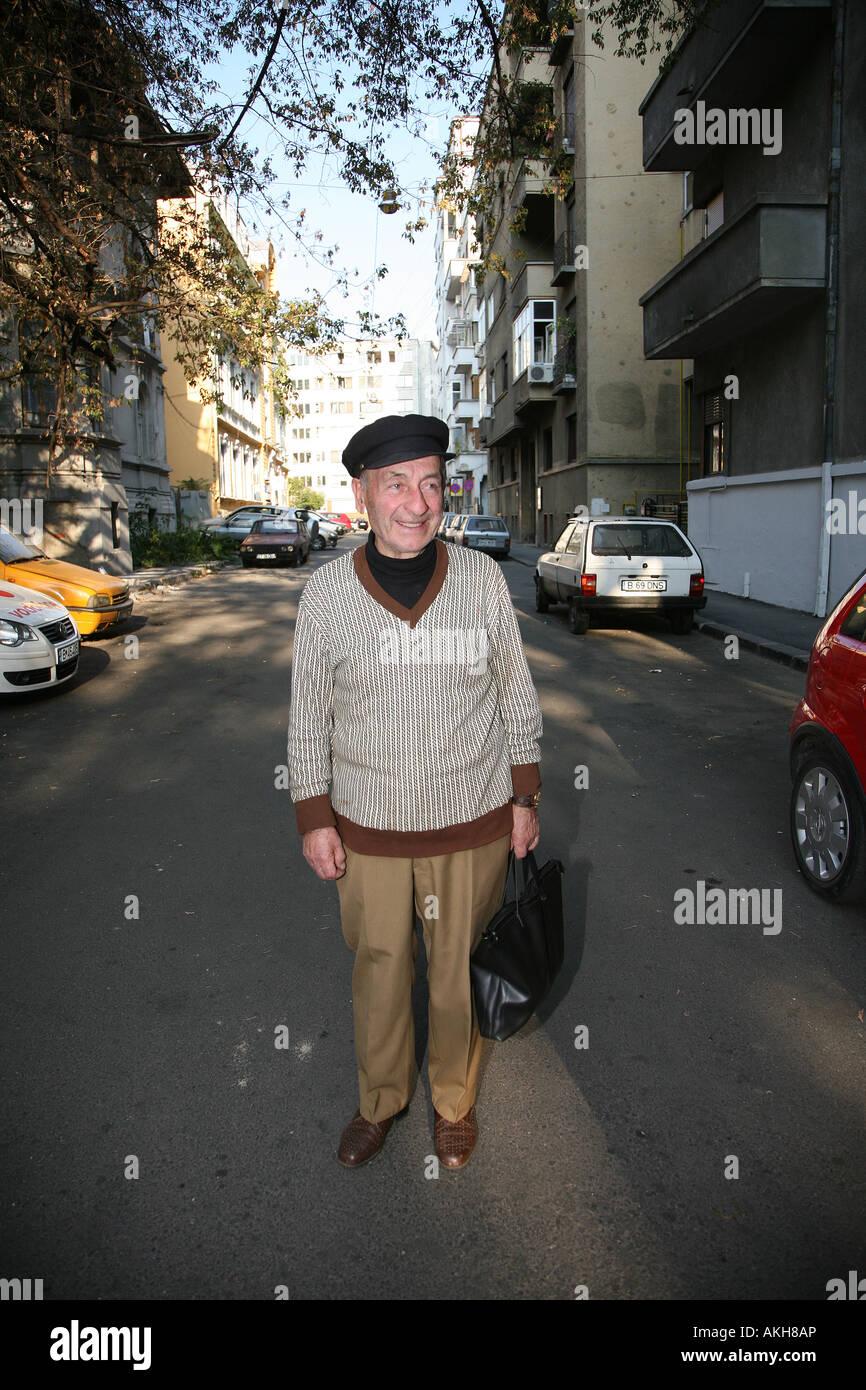 Old man Bucharest Romania Stock Photo