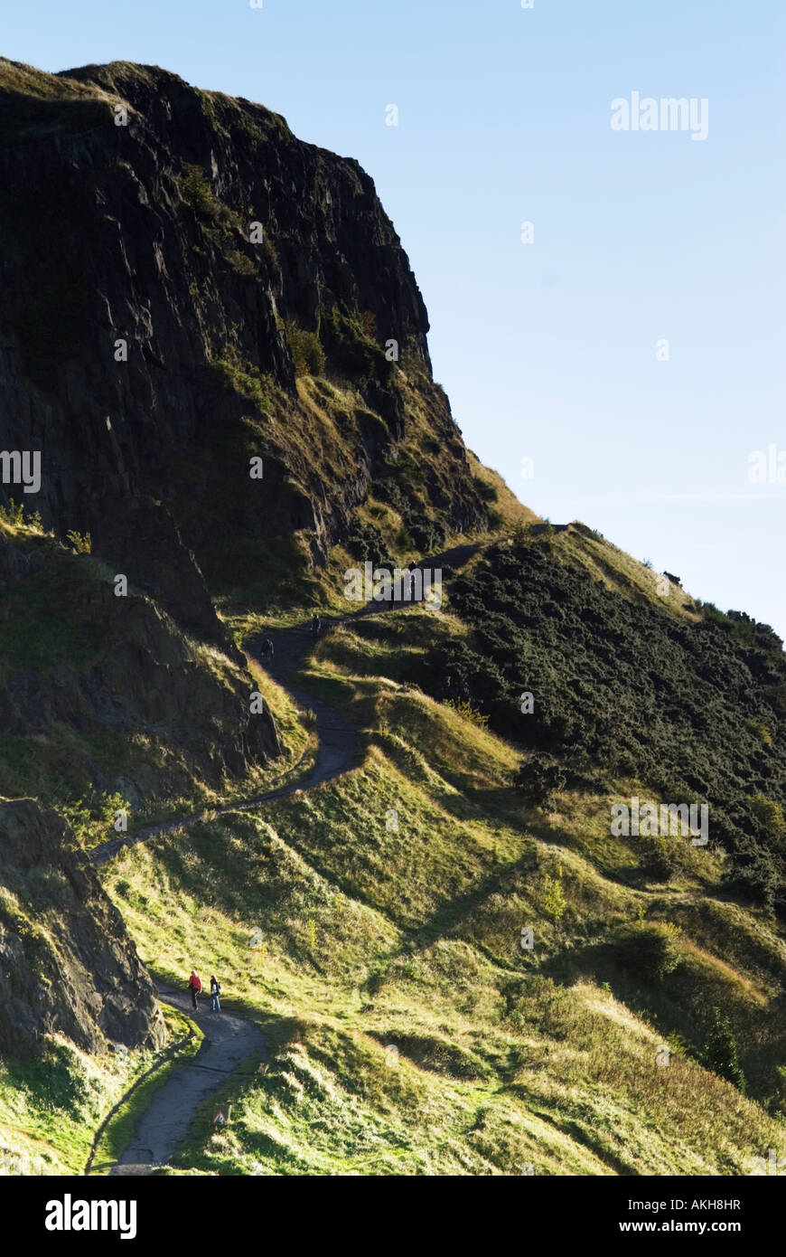 The north end of the Radical Road which runs under Salisbury Crags in Holyrood Park Edinburgh Scotland UK - Stock Image