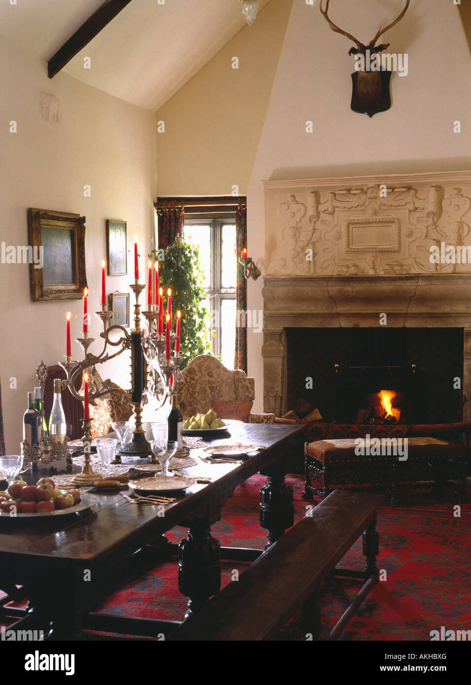 Fabulous Ornate Overmantel On Jacobean Fireplace With Fire Lit In Squirreltailoven Fun Painted Chair Ideas Images Squirreltailovenorg