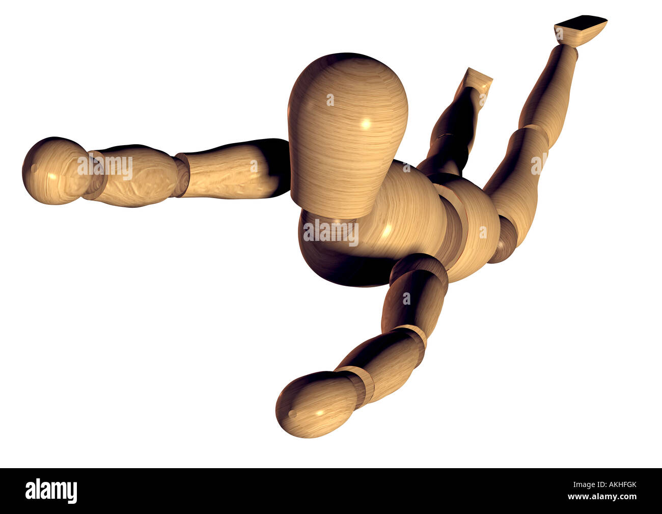 jointed doll flying falling fallende oder fliegende Gliederpuppe Stock Photo