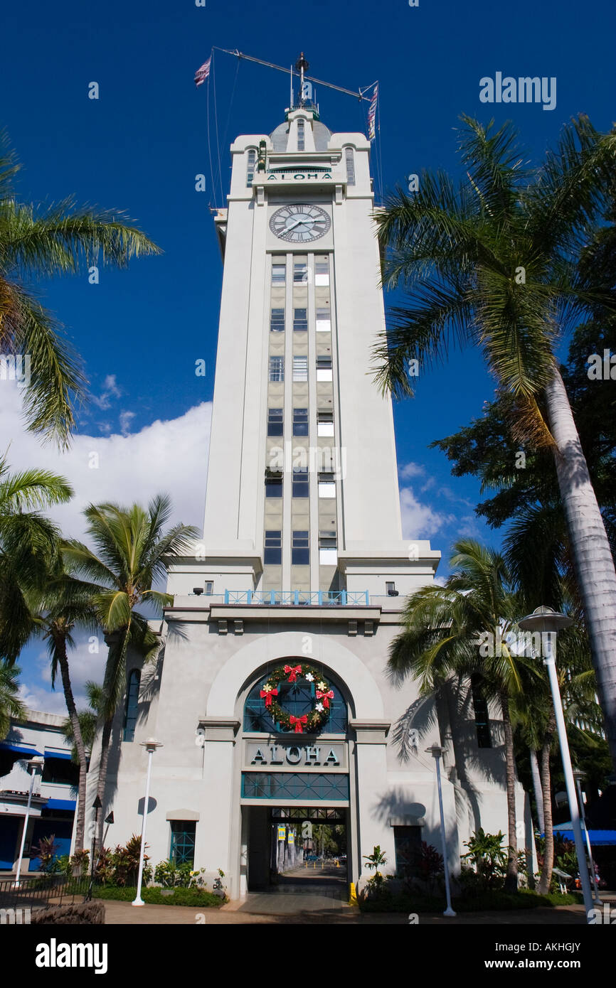 Aloha Tower a landmark in downtown Honolulu on Oahu Hawaii