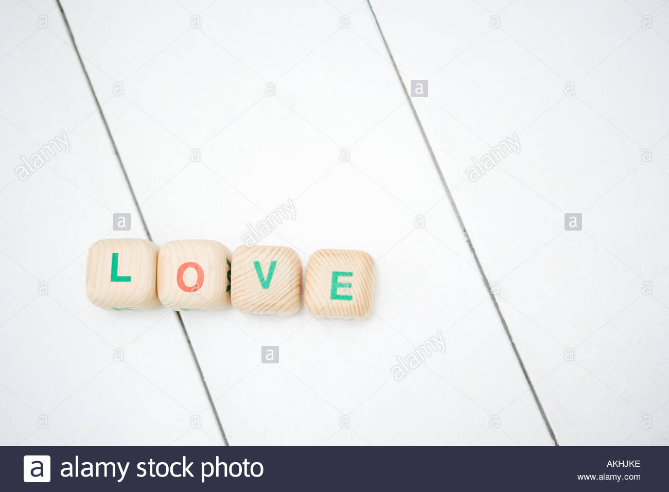 Love written with toy blocks - Stock Image