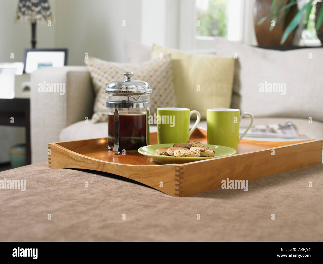 Coffee and biscuits on a tray - Stock Image