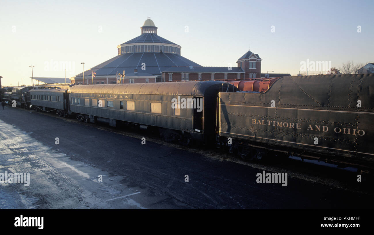Antique train cars at the Baltimore and Ohio Railroad Museum Baltimore Maryland United States - Stock Image