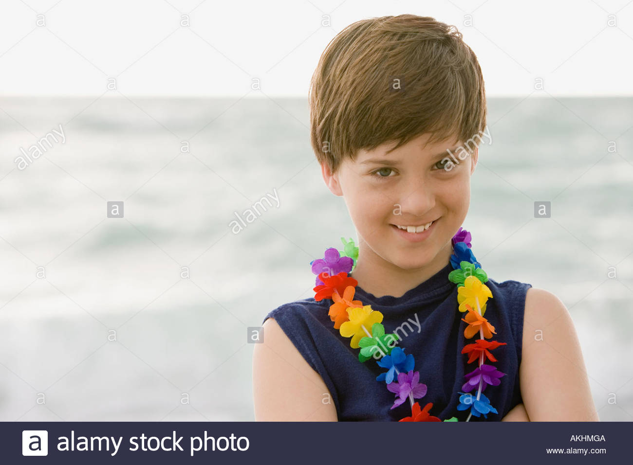 Mischievous looking boy - Stock Image