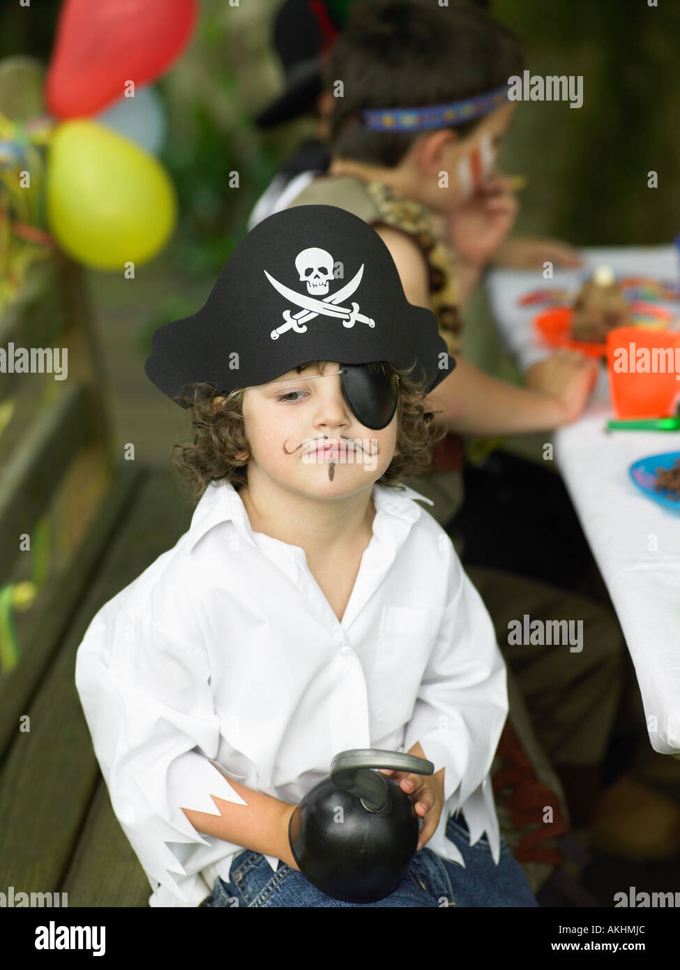 Boy in a pirate outfit - Stock Image