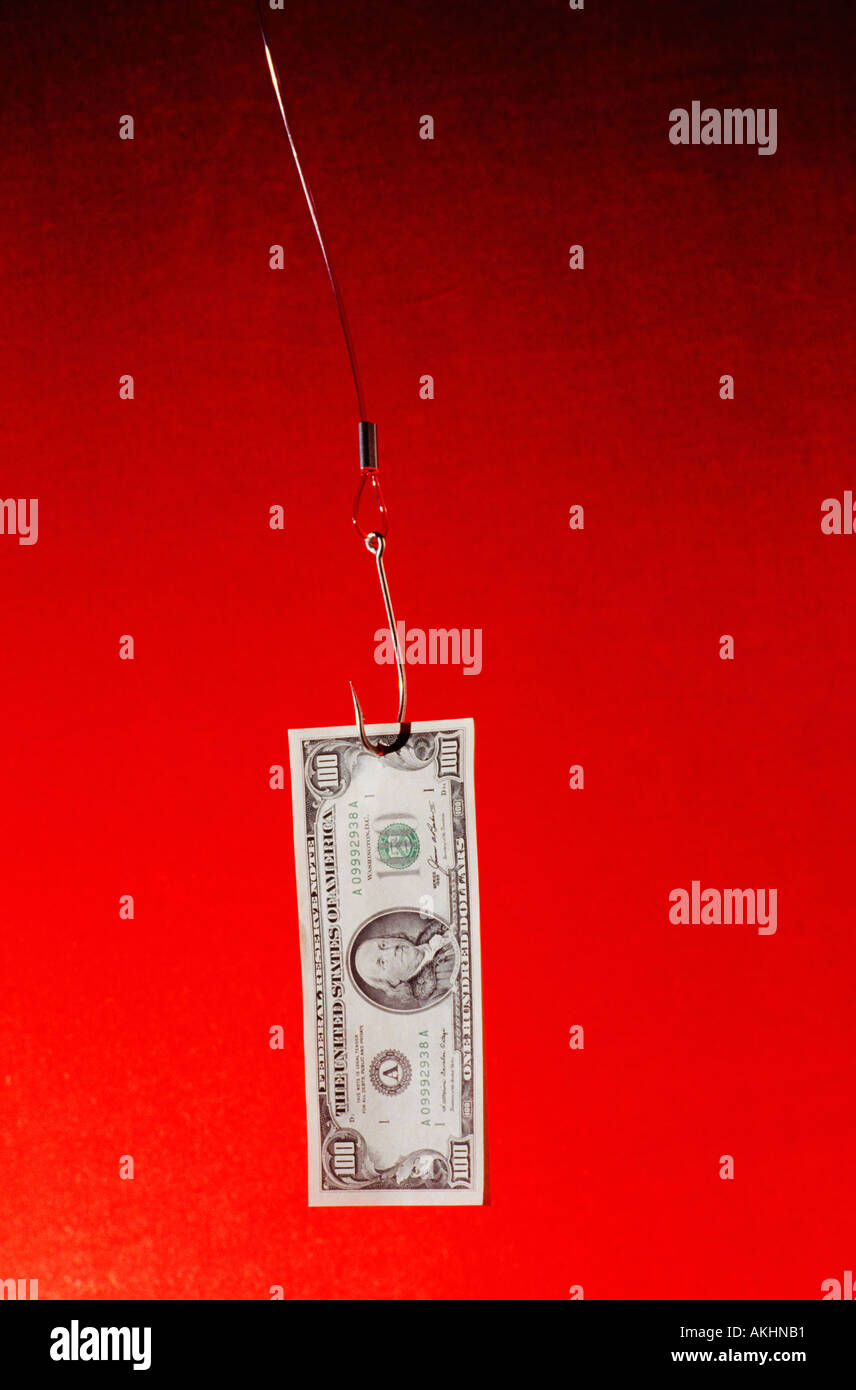 fishing for money - Stock Image