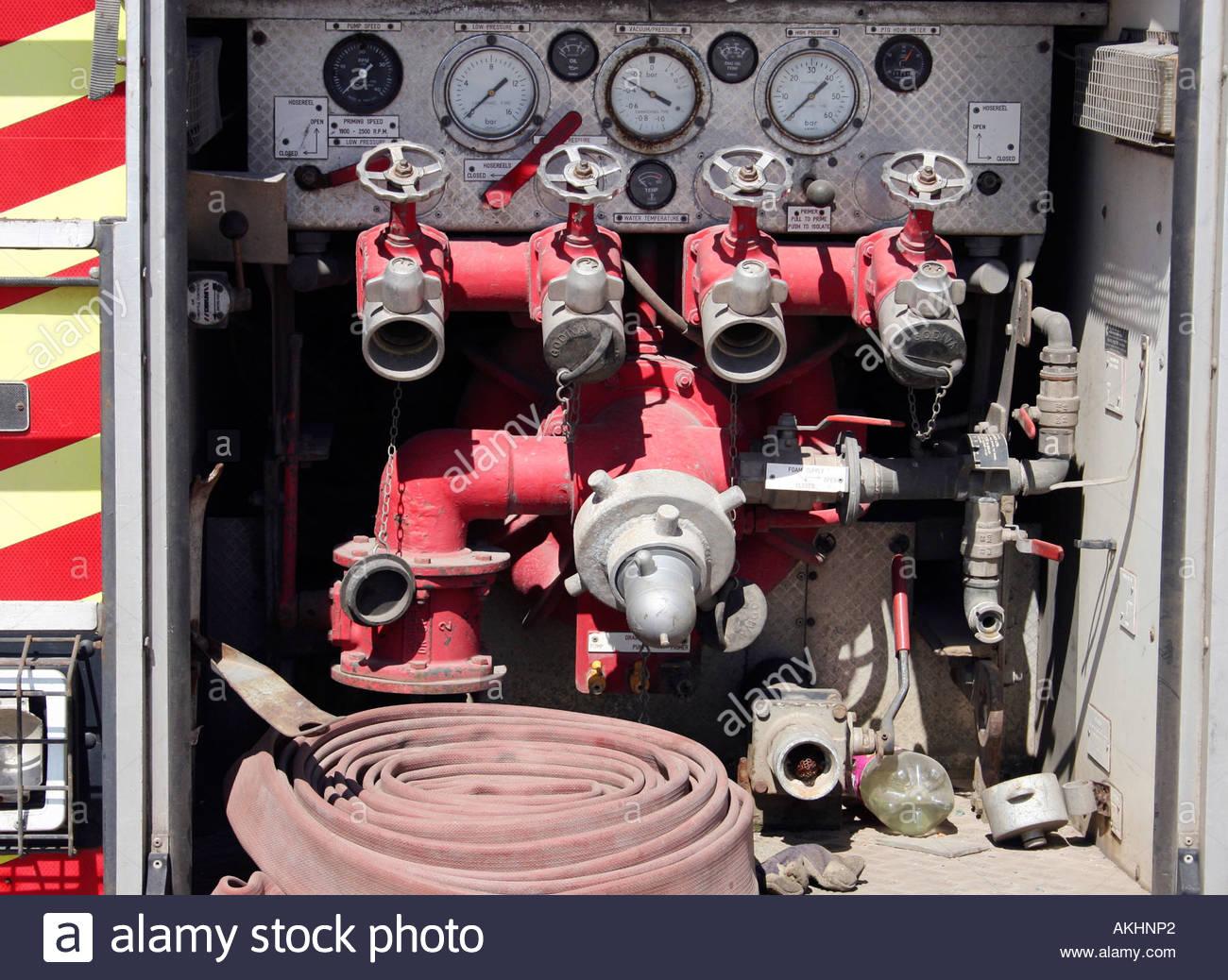 Rear of fire appliance - Stock Image