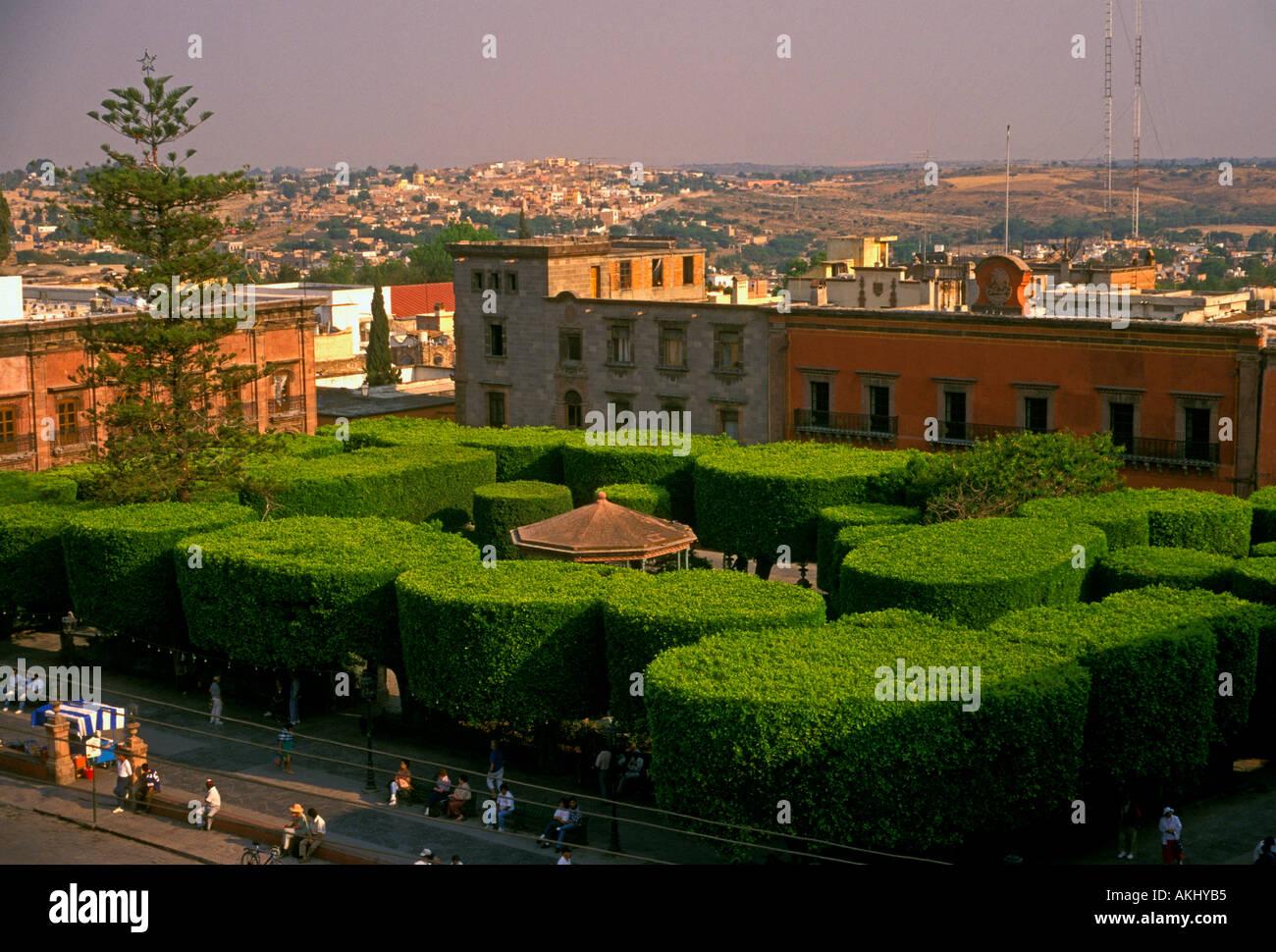 Jardin Principal, main garden, central plaza, plaza, main square, town of San Miguel de Allende, San Miguel de Allende, - Stock Image