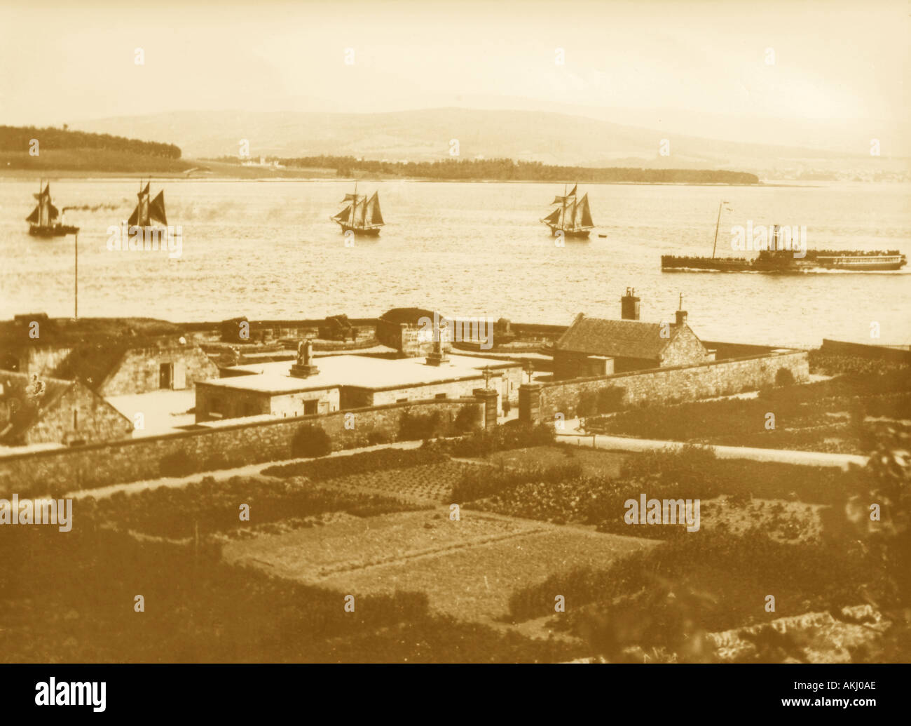 UK Scotland Fort Matilda Gourock and Firth of Clyde 1890 s Stock Photo