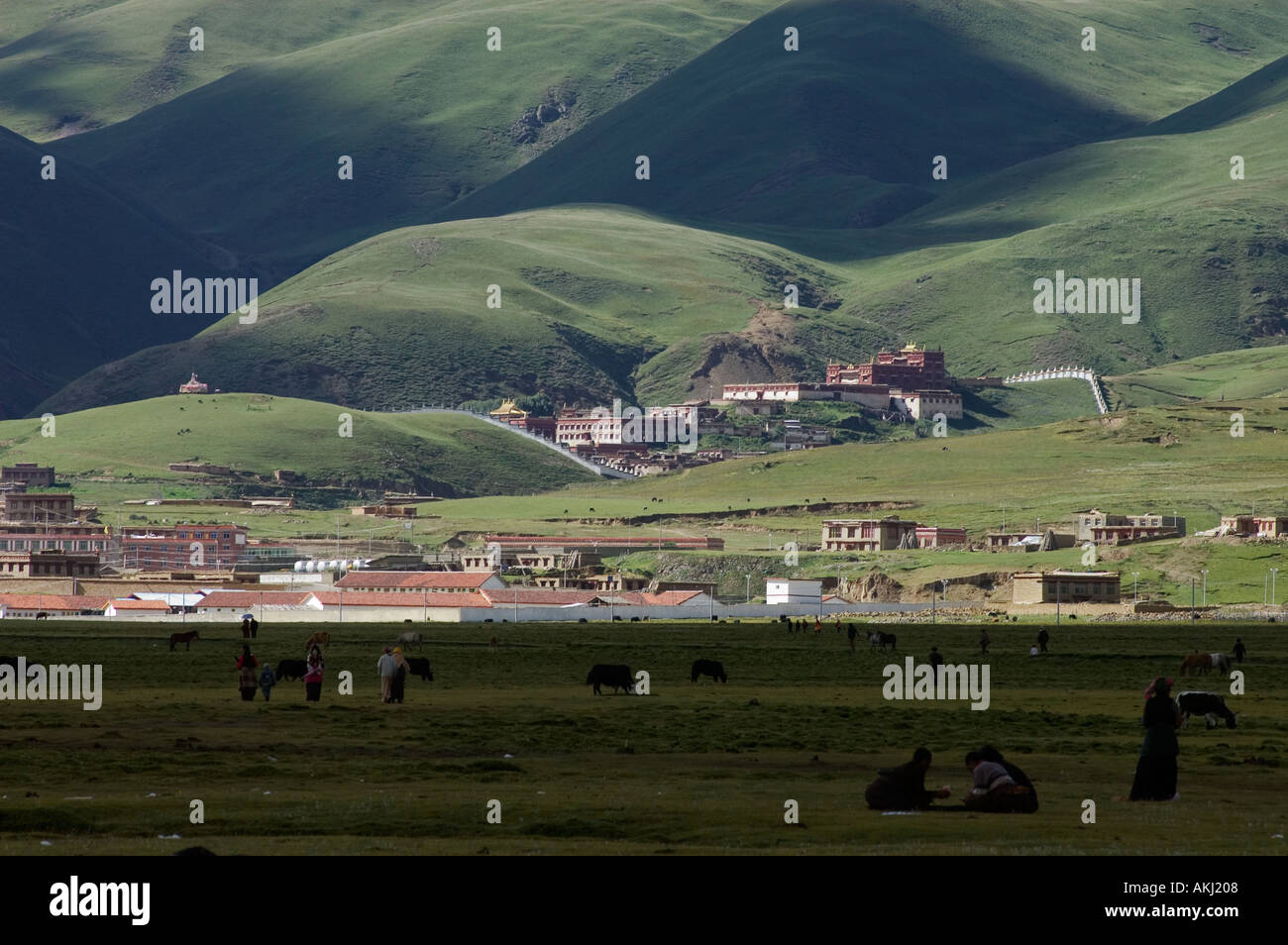 The town of Litang as seen from the Litang Horse Festival grounds in Kham Sichuan Province China Tibet  - Stock Image