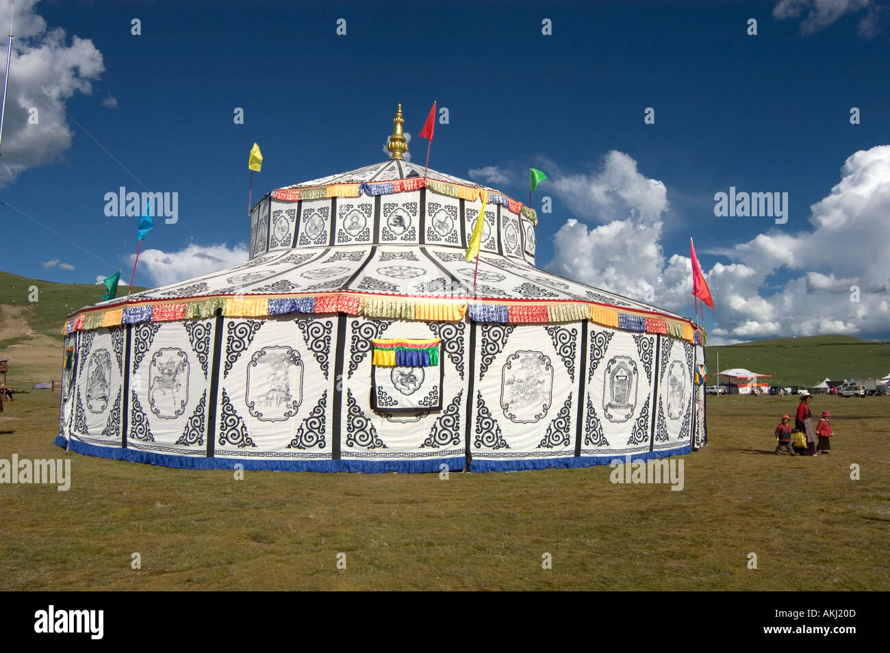 Tibetan tents with Buddhist designs are used for accomadation Litang Horse Festival in Kham Sichuan Province China Tibet  - Stock Image