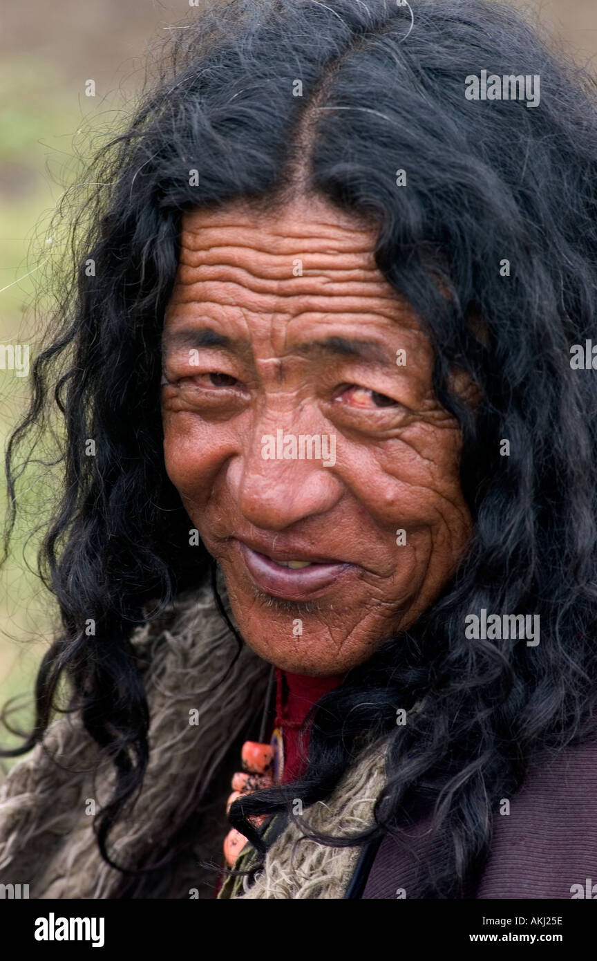 Old Khampa cowboy at the Litang Horse Festival in Kham Sichuan Province China Eastern Tibet  - Stock Image