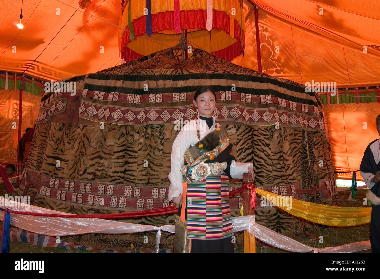 100 tiger skin tent given to the third Dalai Lama by Mongol King at Litang Sichuan Province China Eastern Tibet  - Stock Image