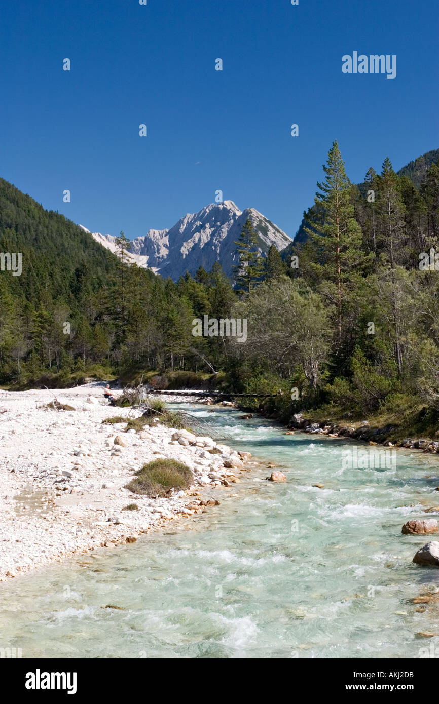 river Isar near Scharnitz in Tyrol Austria - Stock Image