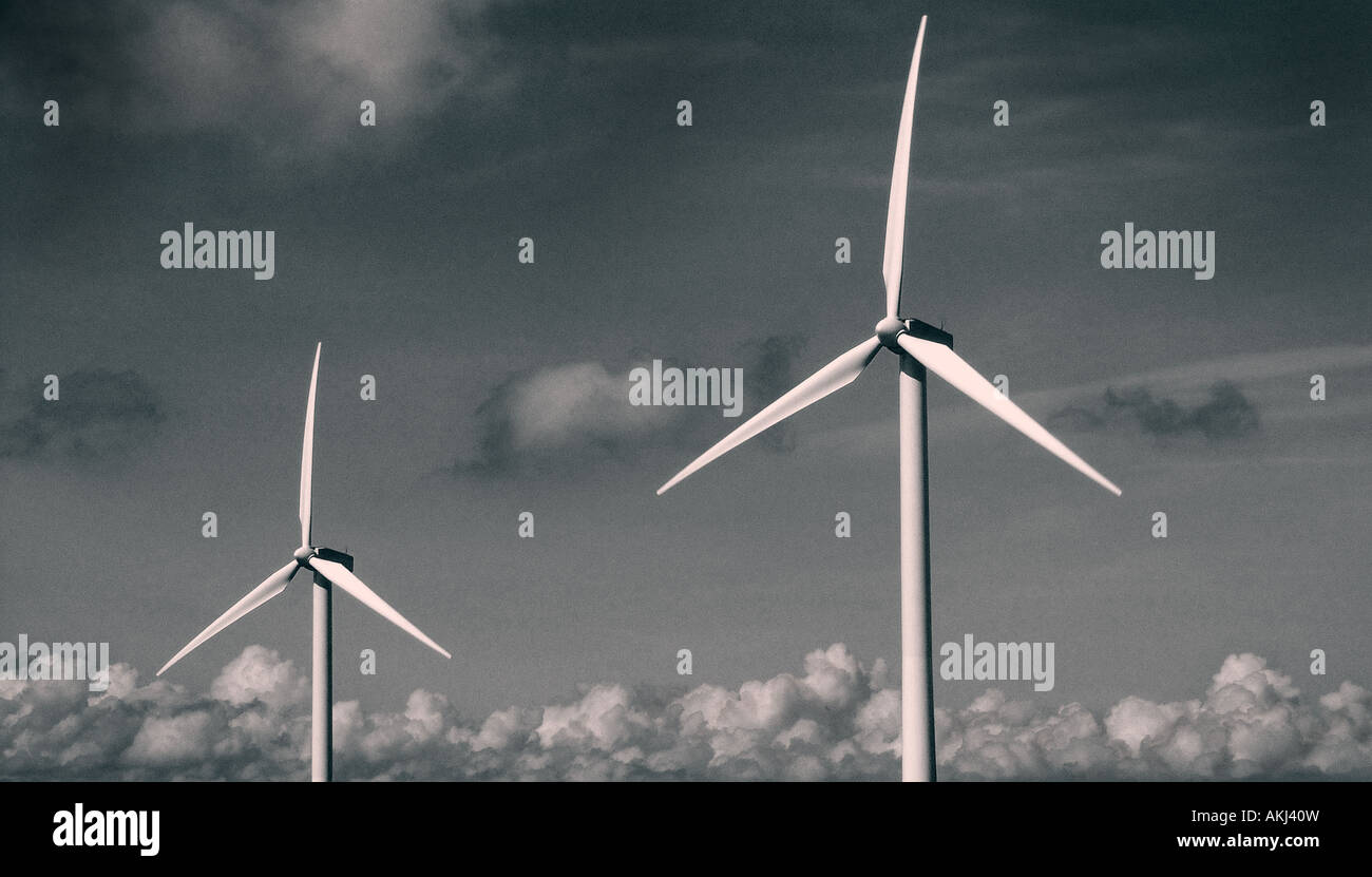 renewable energy landscape image of wind turbines - Stock Image