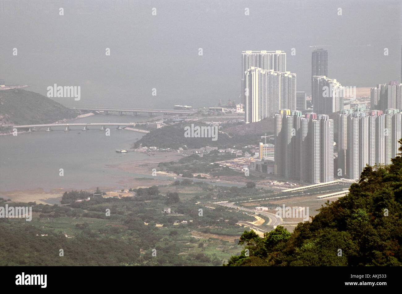 Chek Lap Kok airport in Hong Kong as seen from afar in Lantau Island - Stock Image