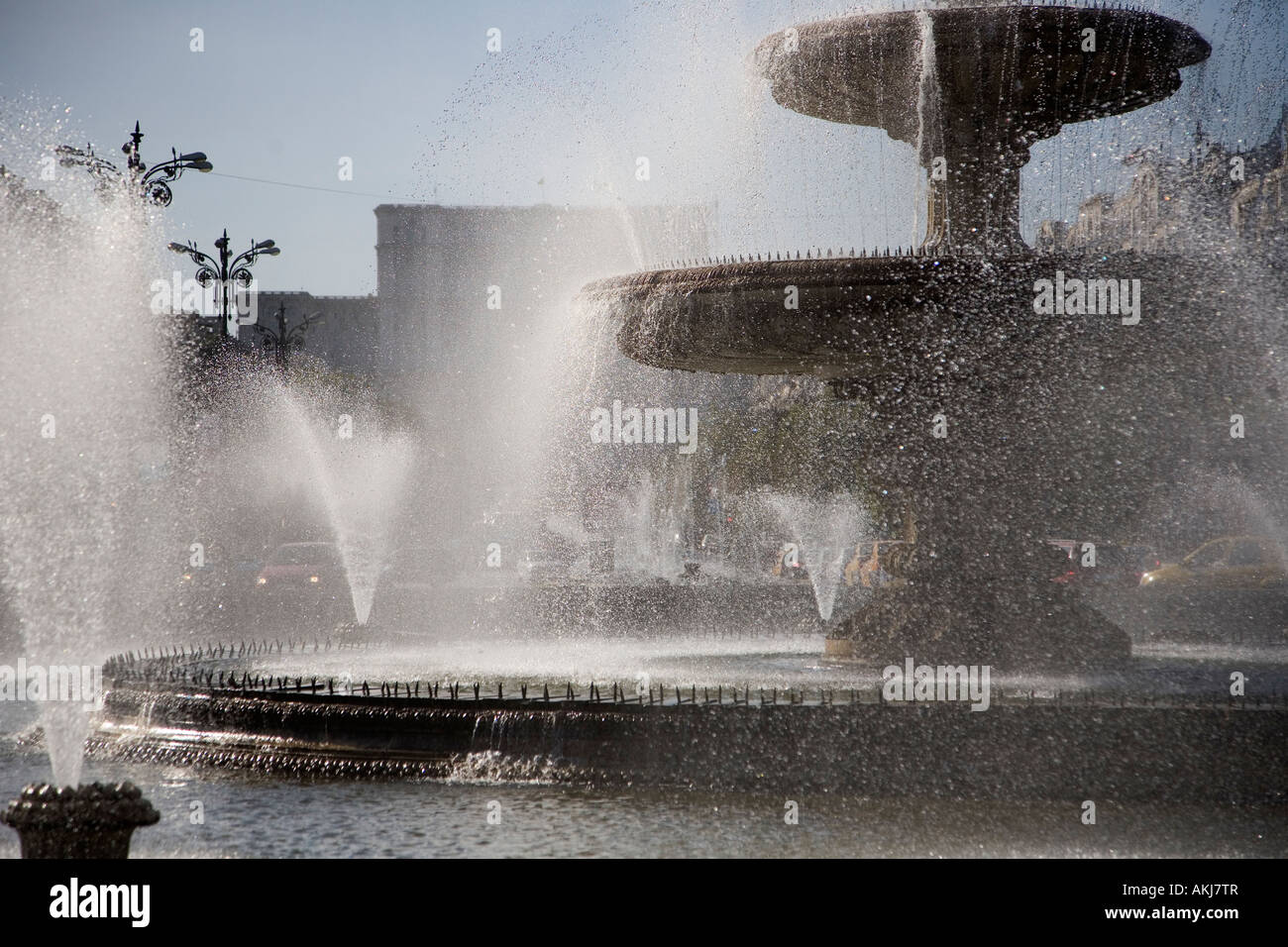 Fountains and Palace of Parliament Bucharest Romania Stock Photo