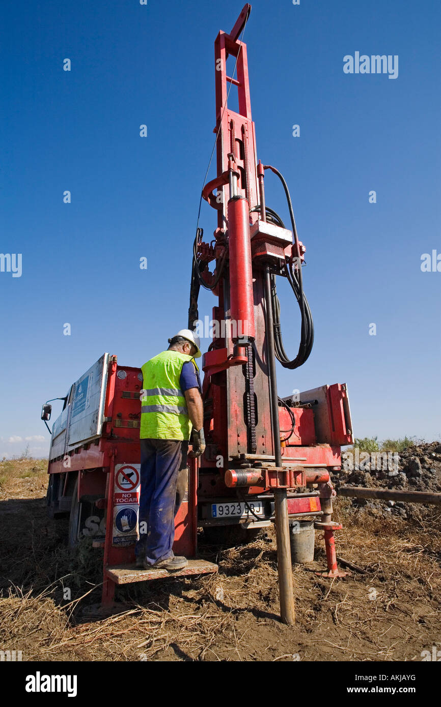 Drilling equipment for the realization of geotechnical reports - Stock Image