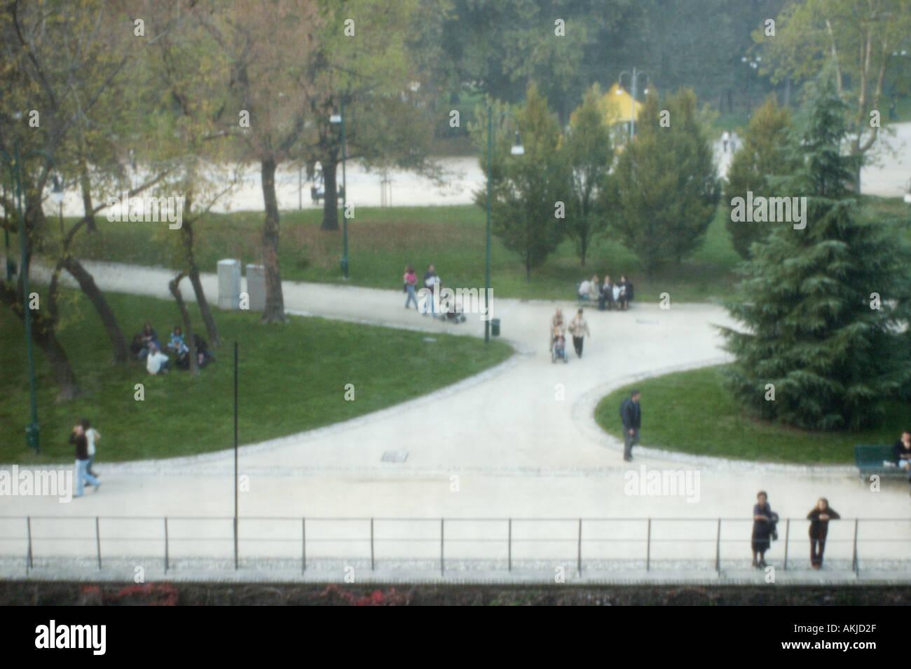 Italy, Milan, Parco Sempione seen from Castello Sforzesco Stock Photo