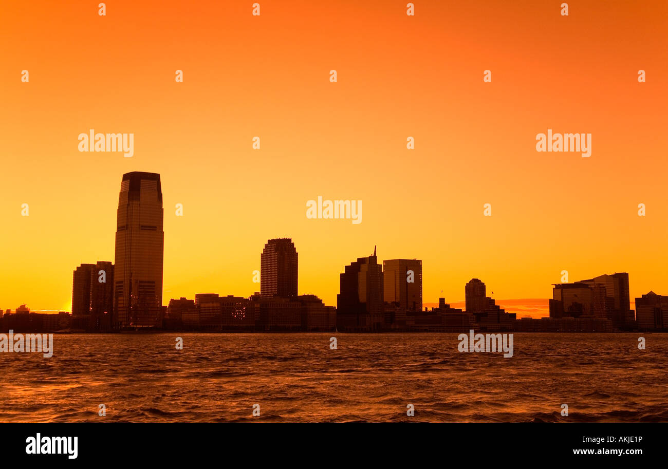 Jersey City at sunset in New York City, New York, USA - Stock Image