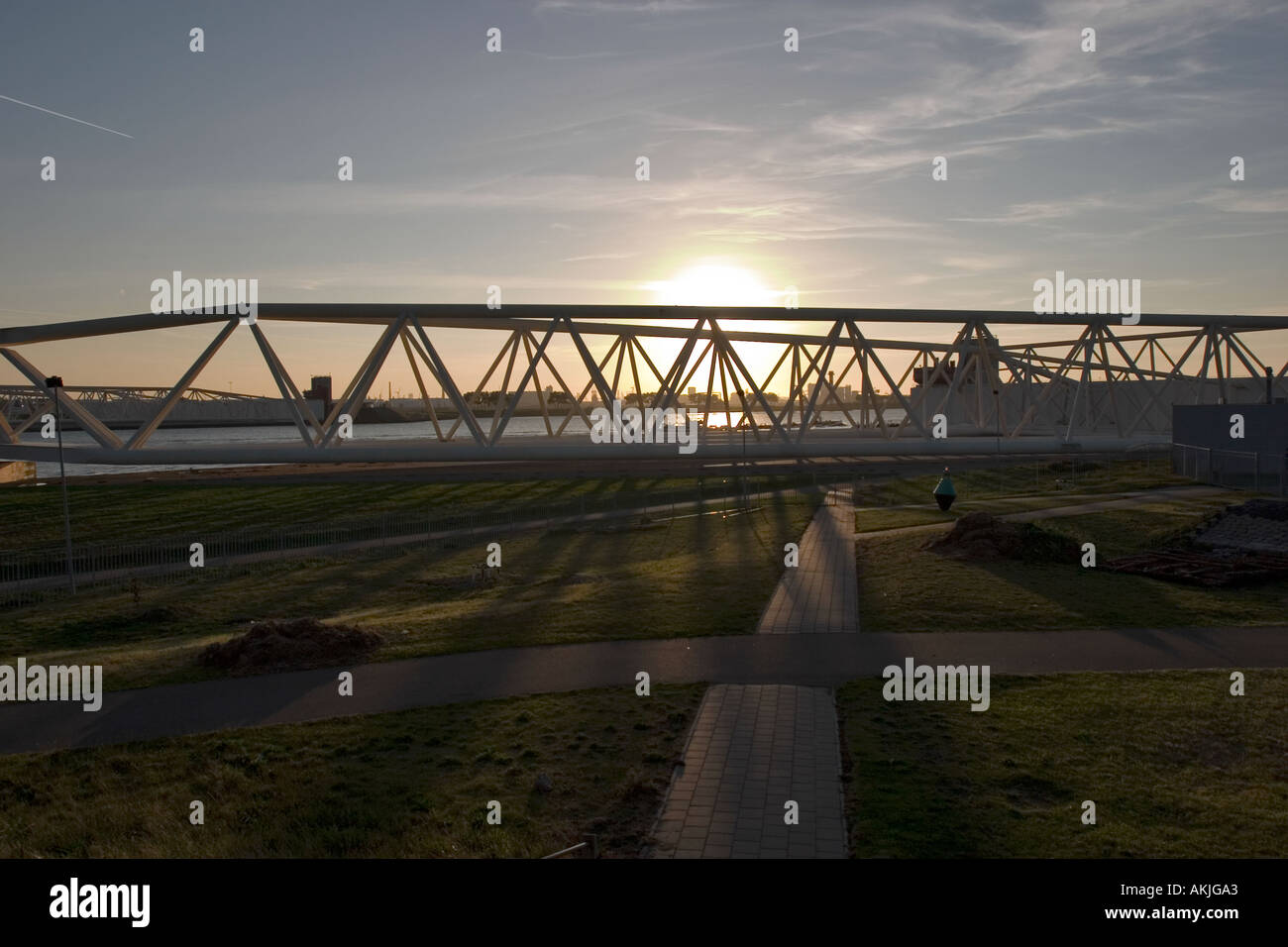 The power structure behind the Maeslant Storm Barrier, Southern-Holland, The Netherlands Stock Photo